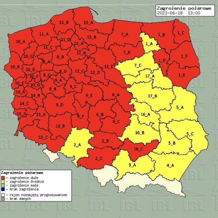 Najwyższy stopień zagrożenie pożarowego na terenie RDLP Szczecin