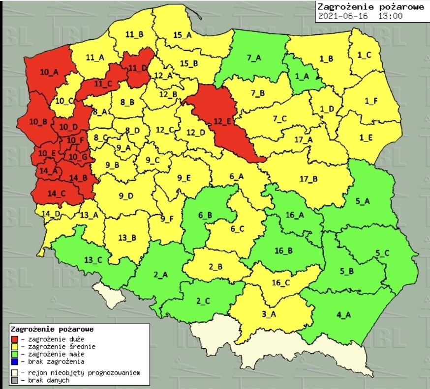 Wysokie zagrożenie pożarowe na terenie RDLP Szczecin