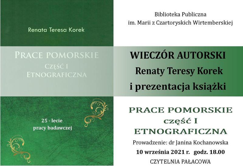 Zaproszenie: wieczór autorski Renaty Teresy Korek